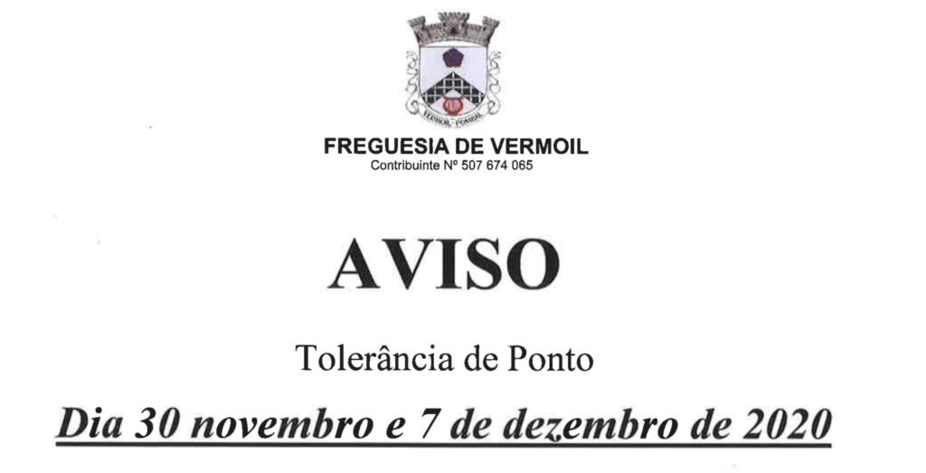Aviso – tolerância de ponto nos dias 30 de novembro e 07 de dezembro