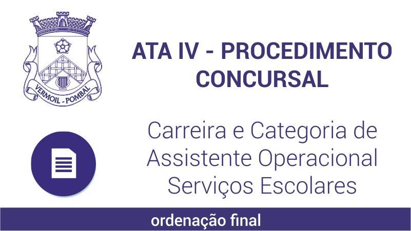 Ata IV – Procedimento Concursal – Carreira e Categoria de Assistente Operacional – Serviços Escolares -ordenação final