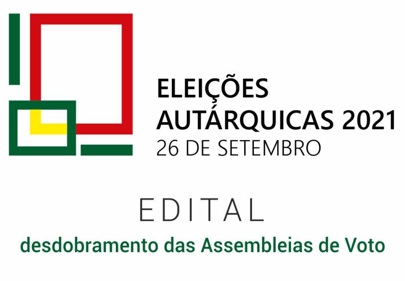 Autárquicas 2021 – Edital – desdobramento das Assembleias de Voto